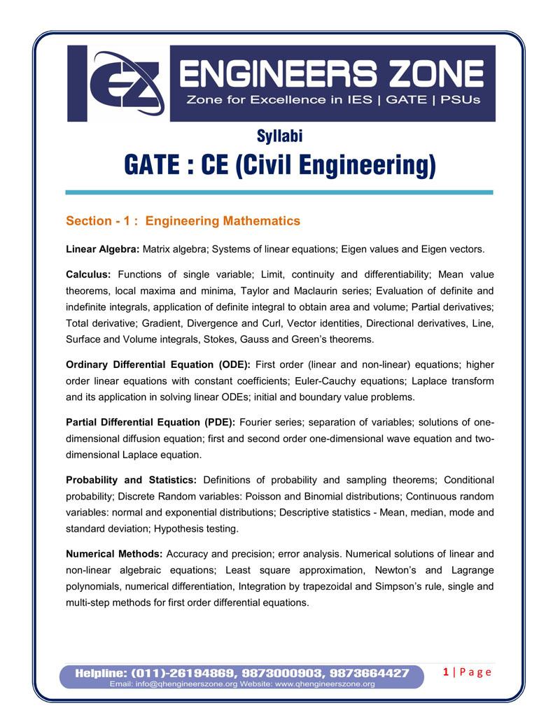 GATE coaching syllabus in delhi| ESE coaching syllabus in